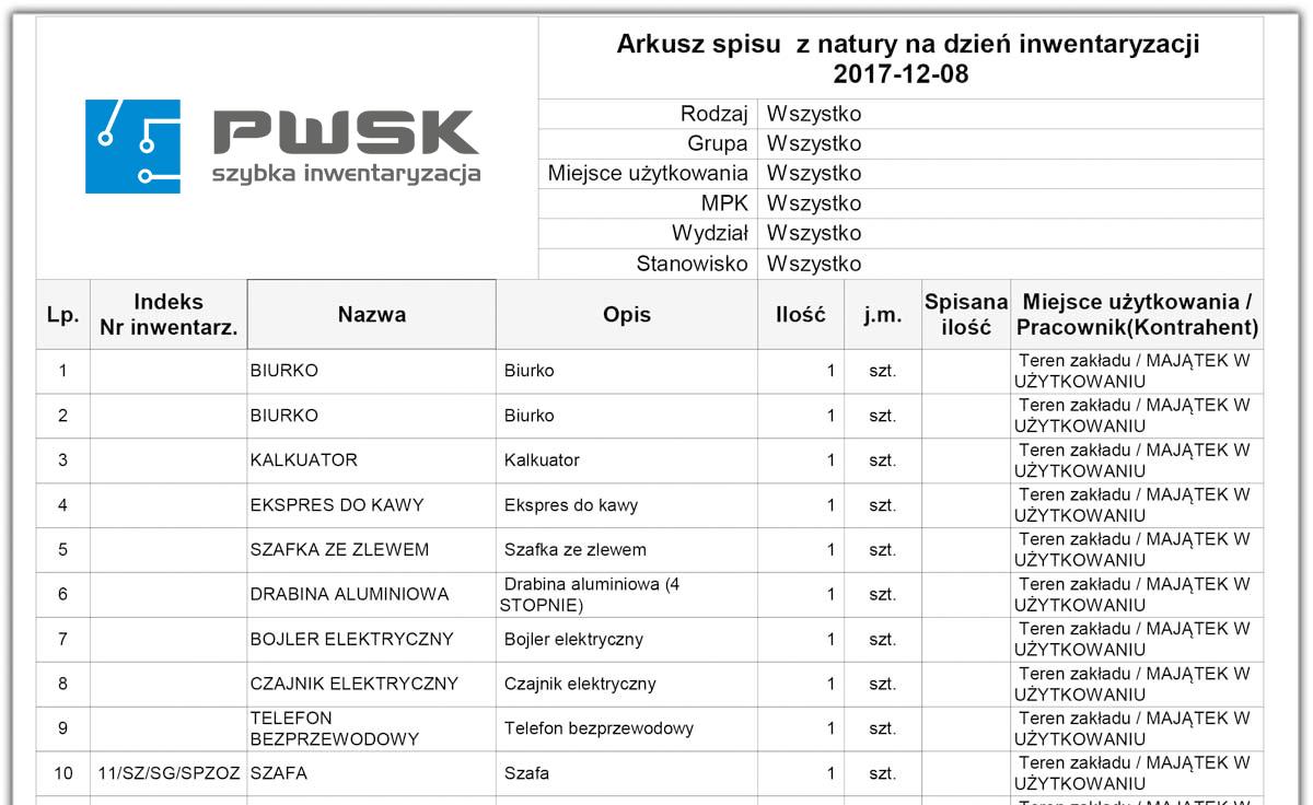 Przykładowy arkusz elektronicznego spisu z natury