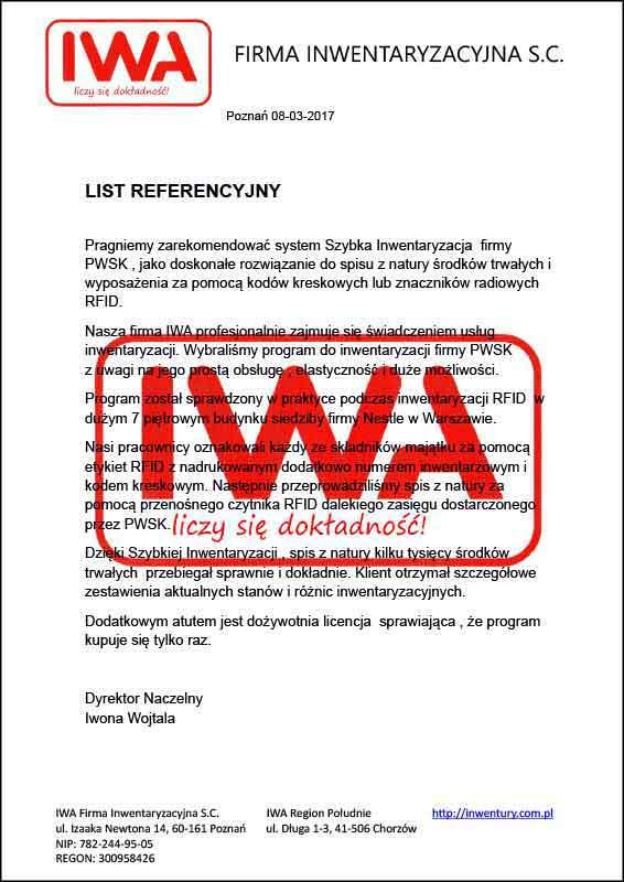 iwa - program do szybkiej inwentaryzacji - referencje