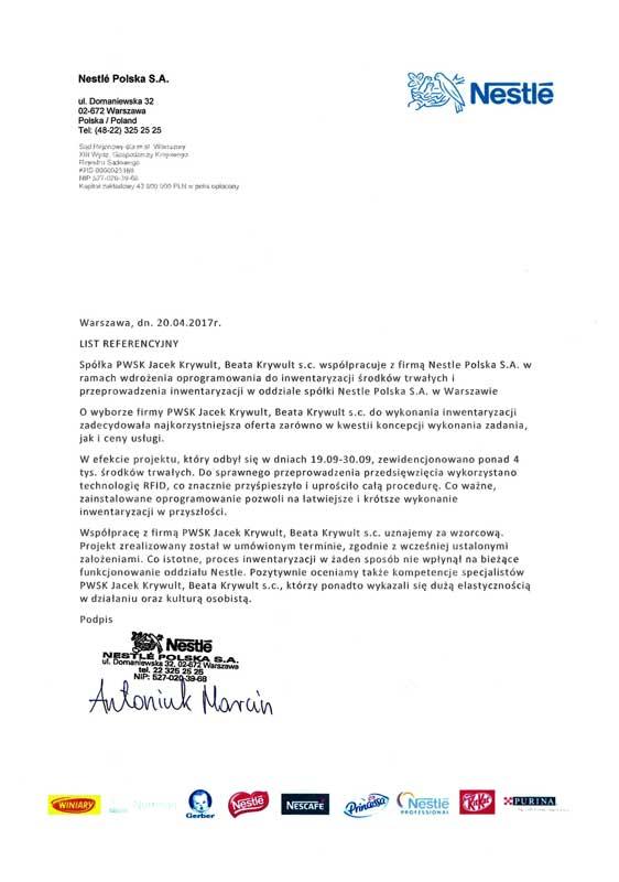 Referencje - Nestle dla Szybkiej Inwentaryzacji PWSK
